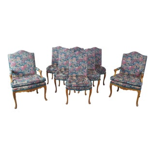 Antique French Provincial Carved Walnut Floral Upholstered Dining Chairs - Set of 8 For Sale