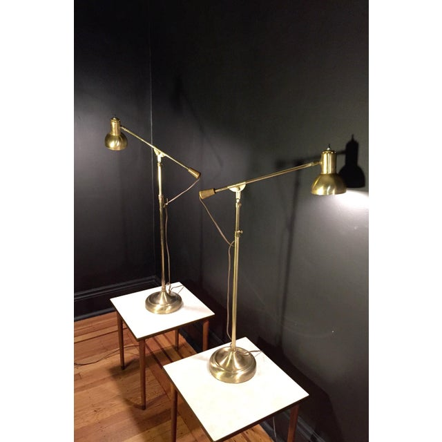 Brass Industrial Style Brass Lamps - a Pair For Sale - Image 7 of 7