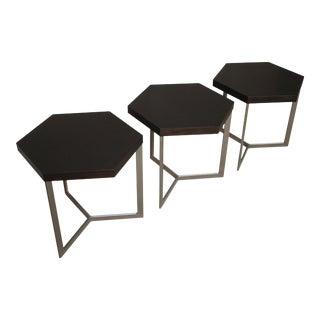 Nicoli Modern Hexangonal Side Table in Steel and Rosewood, Customizable - Set of 3 For Sale