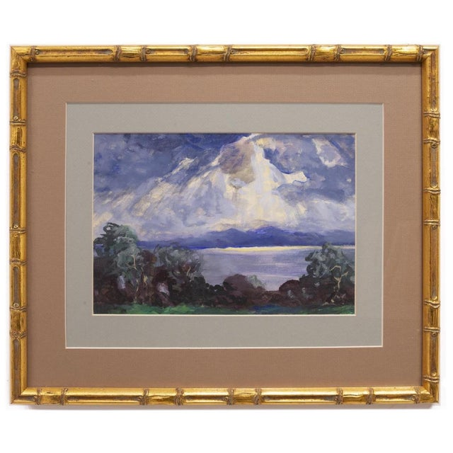 1900 - 1909 1900s Expressionist Cloudy Sunrise Watercolor by Frank Herrmann in Gold Faux Bamboo Frame For Sale - Image 5 of 5