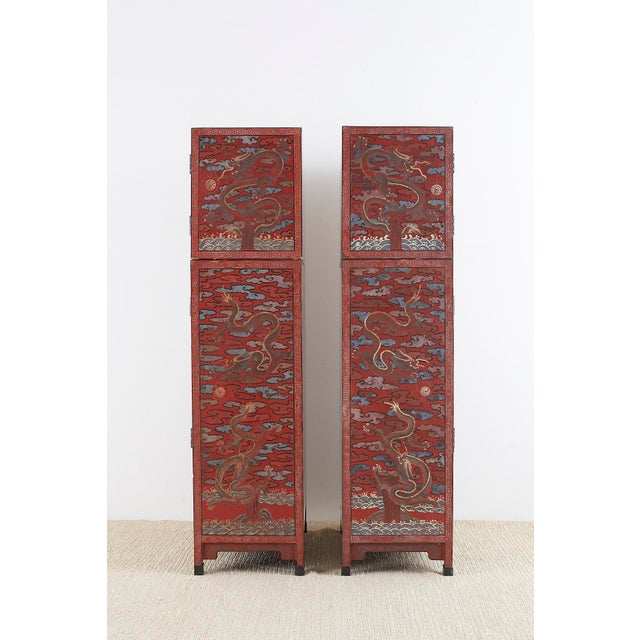 Chinese Polychrome Decorated Compound Dragon Cabinets - a Pair For Sale - Image 10 of 13