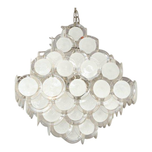 Murano Glass Disc Chandelier For Sale