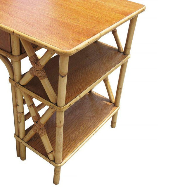 Restored Rattan & Mahogany Secretary Desk With Side Shelf - Image 4 of 8