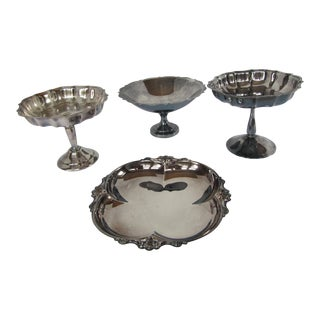Vintage Silver-Plate Candy and Nut Dishes-4 Pieces For Sale