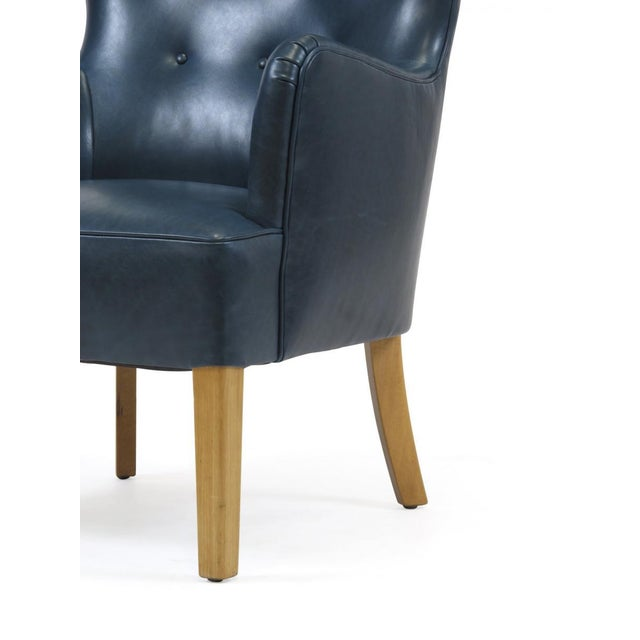 1940s 1946 Ole Wanscher for Fritz Hansen Highback Chair in Teal Leather For Sale - Image 5 of 10