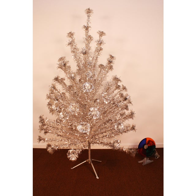 Silver Christmas Tree Color Wheel: Vintage 1950's Silver Forest Aluminum Christmas Tree