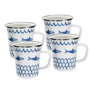 Latte Mugs Fish Camp - Set of 4 For Sale