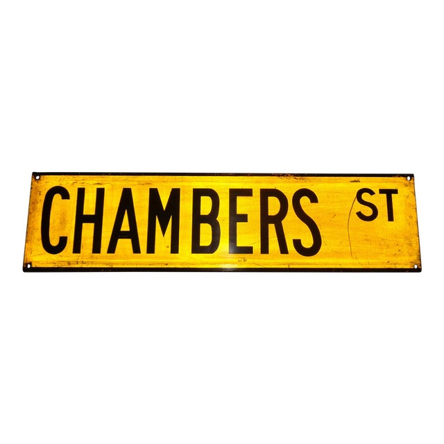 """1960s New York City Yellow Reflective Street Sign """"Chambers St"""" - Tribeca For Sale"""
