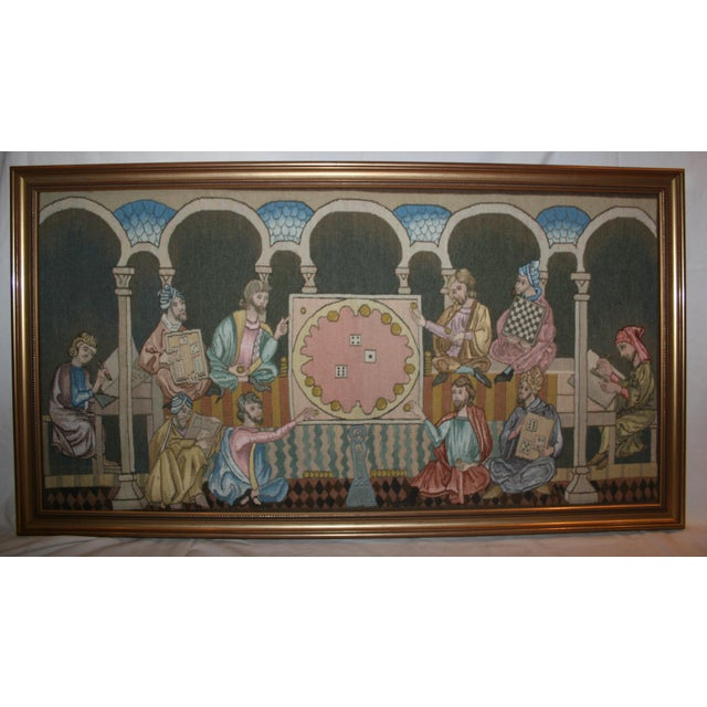 """Traditional """"Table Game of the Time"""" Tapestry Made by the Royal Spanish Tapestry Factory For Sale - Image 3 of 3"""