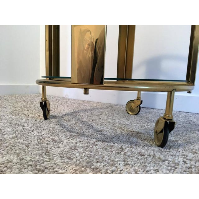 Italian Modernist Design Round Polished Brass Bar Cart - Image 2 of 9