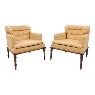 Vintage Tufted Button Armchairs - A Pair