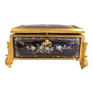 Antique French Delicate Cobalt Enamel Jewel Box, Circa 1870-1890. For Sale