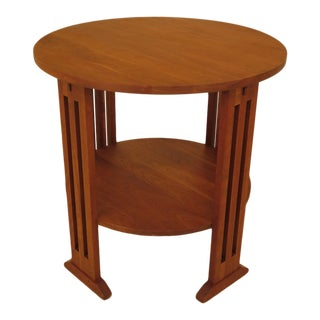 1990s Arts & Crafts Stickley Round Cherry Occasional Table For Sale