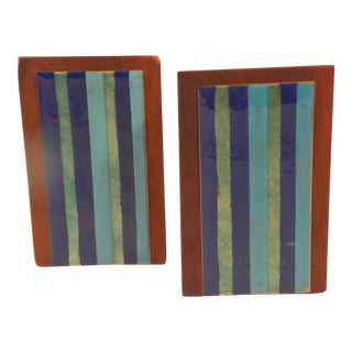 Hand Painted Vintage Mid-Century Tile Bookends - A Pair