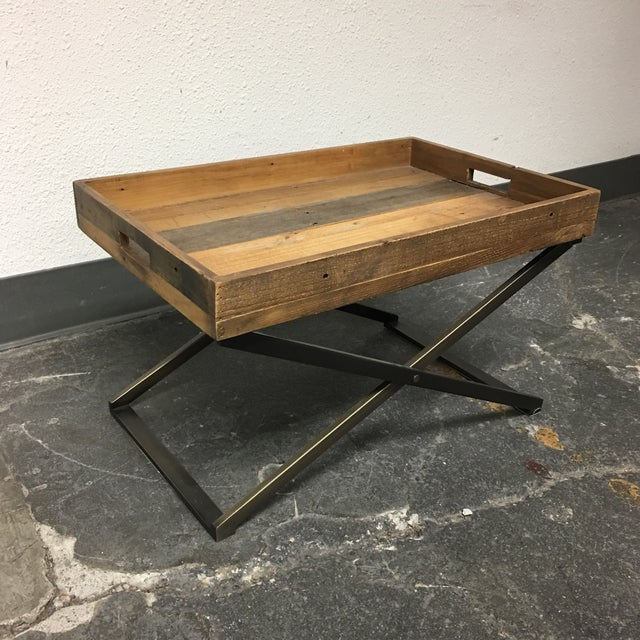 West Elm Low Butler Tray Coffee Table Chairish - West elm plank coffee table