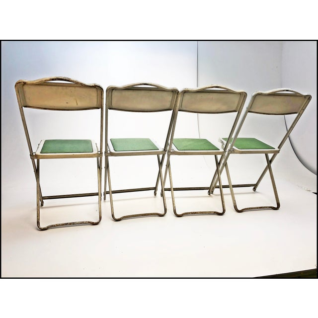 Metal Vintage White Metal Folding Chairs With Green Vinyl Seats - Set of 4 For Sale - Image 7 of 11