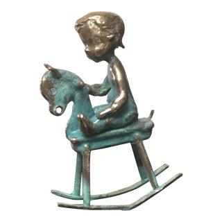 Malcom Moran Bronze Rocking Horse Sculpture For Sale