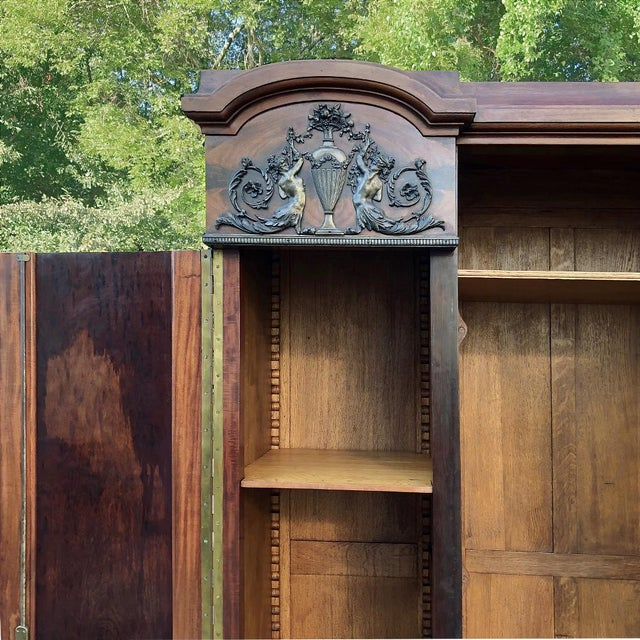 Antique French Neoclassical Mahogany Armoire For Sale - Image 9 of 13
