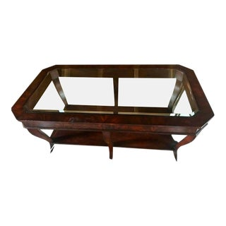Traditional Ethan Allen Newport Collection Beveled Glass Coffee Table.