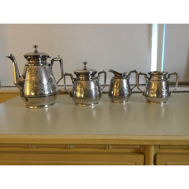 Traditional Meriden B Company Silver Plated Tea Set For Sale - Image 3 of 6