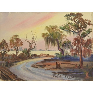 1950s Impressionism Painting of Florida Everglades Sunset by Peter Koster For Sale