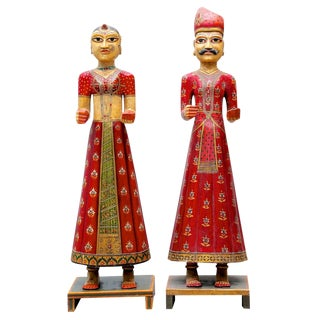 Set of 2 Small Hand-Painted Gangaur Dolls
