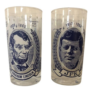 Final Price! Vintage Lincoln and Kennedy Glasses - Set of 2 For Sale