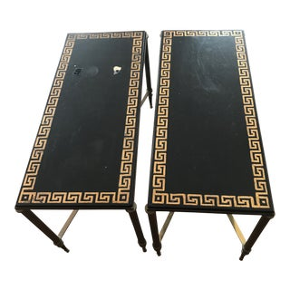 1950s French Neoclassical Style Black Lacquer Greek Brass Low Coffee Tables - a Pair