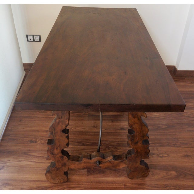 18th Century Refectory Spanish Table with Lyre Legs - Image 7 of 8