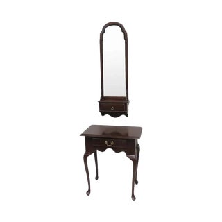 20th Century Queen Anne Ethan Allen Cherry Wood Console or Hall Table Entryway Piece With Matching Mirror For Sale