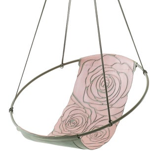 Rose Pink Grey Hand Stitched Genuine Leather Sling Chair For Sale