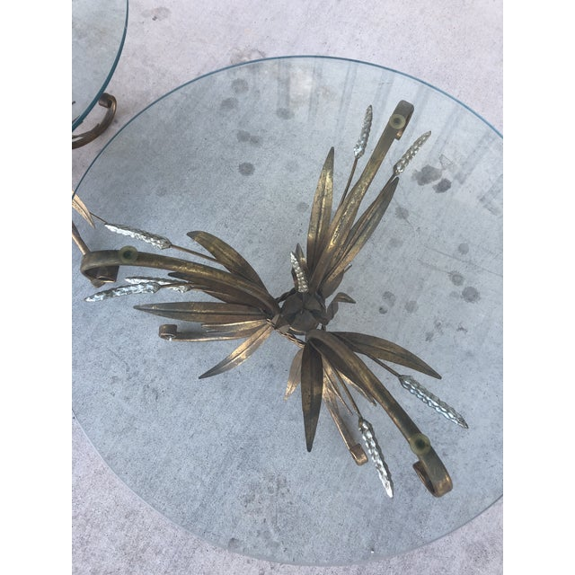 1950s Midcentury Italian Gold Leaf Iron Side Tables - Pair For Sale - Image 5 of 7