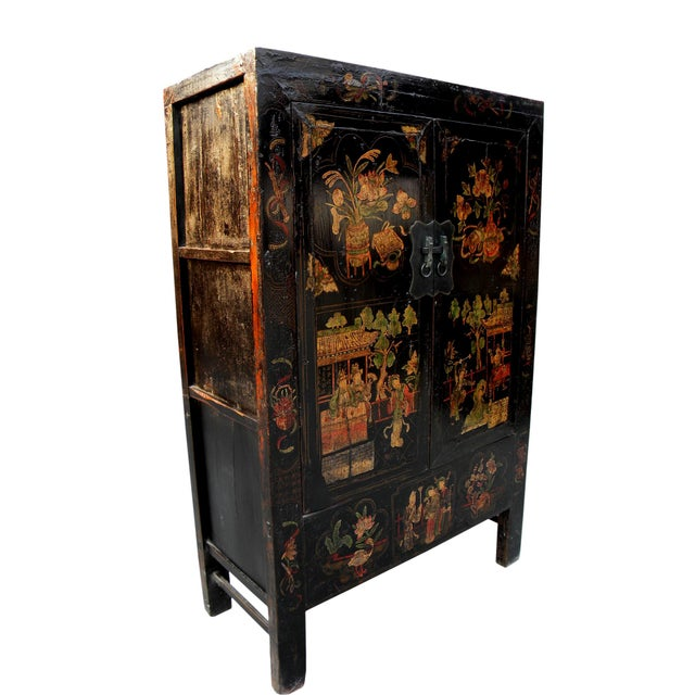 Asian 19th Century Chinoiserie-Style Black Elm Cabinet For Sale - Image 3 of 11
