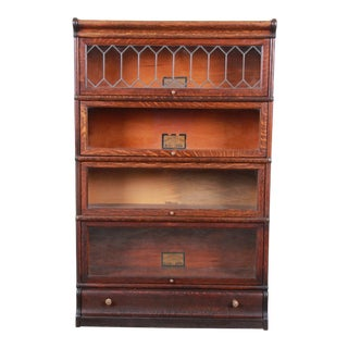 Globe-Wernicke Oak Four-Stack Barrister Bookcase With Leaded Glass Doors, Circa 1920s For Sale