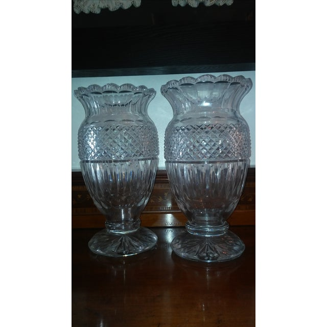 Transparent Antique Large Waterford Irish Crystal Vases - 2 For Sale - Image 8 of 9