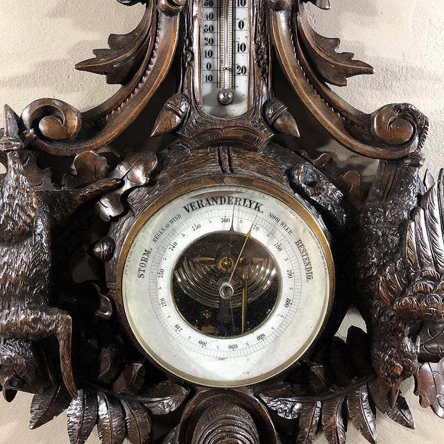 Brown 19th Century Black Forest Barometer - Thermometer For Sale - Image 8 of 12