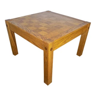 Conant Ball Parquet Top Oak Chess Board Coffee or End Table For Sale