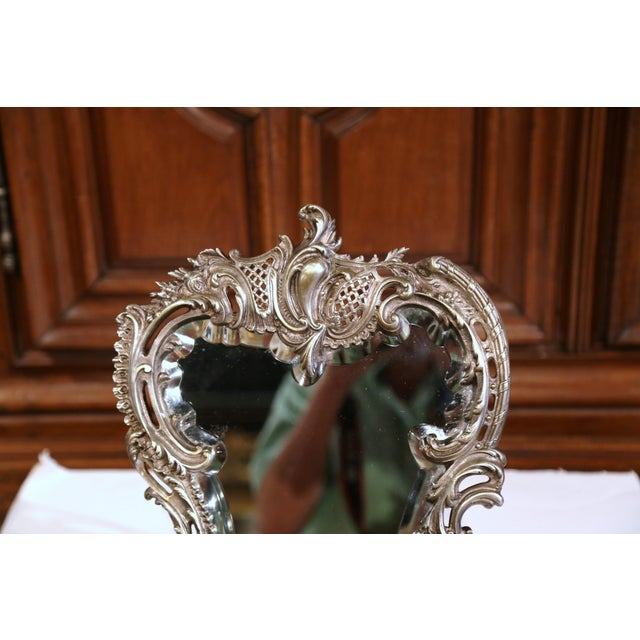 French 19th Century French Louis XV Silvered Bronze Free Standing Vanity Table Mirror For Sale - Image 3 of 8