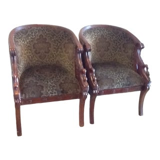 Hand Carved Arm Chairs With Velvet Fabric - A Pair For Sale