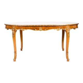 Regency Burlwood Dining Table With Gilt Design Details For Sale
