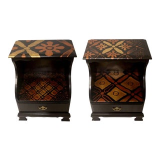 Custom Modern African Black Gold Bronze Metallic Hand Painted Bedside Wood Table Stand Cabinet Dresser - a Pair