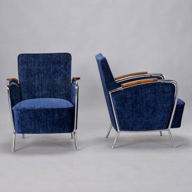 Mid-Century Modern Pair of Bauhaus Steel and Wood Club Chairs For Sale - Image 3 of 10