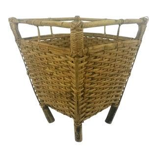 Woven Wicker & Bamboo Basket