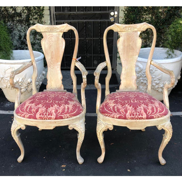 Fortuny Pair of Antique George III Fortuny Designer Arm Chairs For Sale - Image 4 of 6