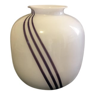 Goebel Kristallglas White & Purple Stripe Glass Vase
