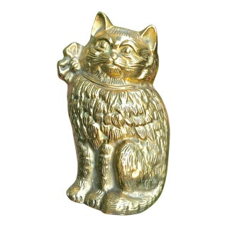 Vintage Solid Brass Cat Door Knocker For Sale