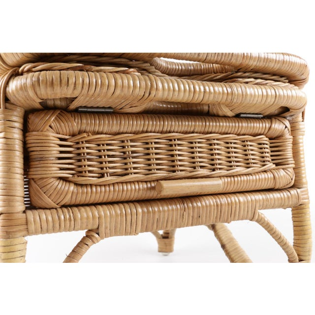 Vintage Wicker Picnic Basket Folding Chair For Sale In San Francisco - Image 6 of 13