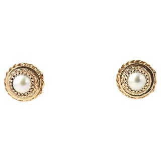 Traditional Mabe Pearl & Gold Button Earrings - a Pair For Sale