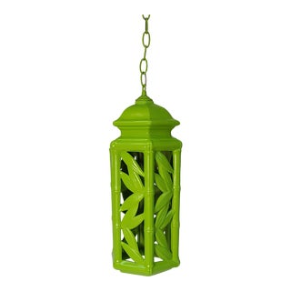 1950s Green Ceramic Bamboo Pendnat For Sale