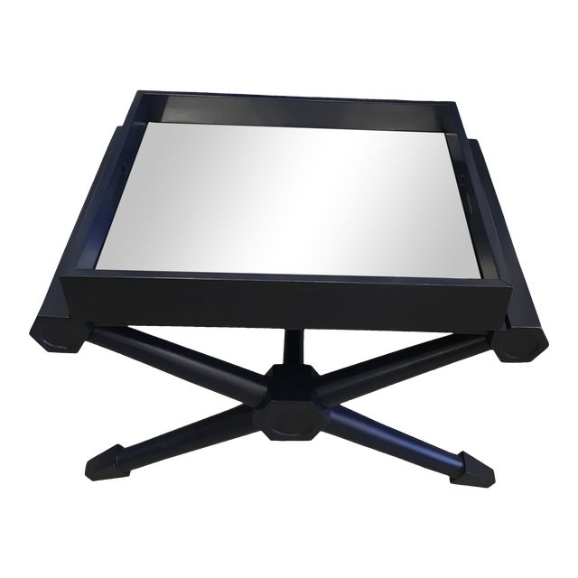 Mid-Century Modern Navy Lacquer Mahogany Pierre Mirrored Tray Table For Sale